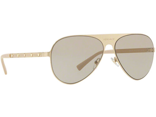 NWT Versace Sunglasses VE 2189 1339//3 Brushed Pale Gold Light Brown 59mm 13393