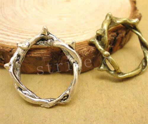 6//30//150pcs Tibetan Silver Round Charm Bail Connector Fit Bracelet 22x20mm H