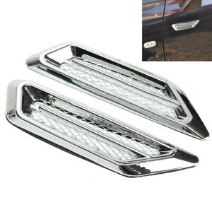 2-Plastic-Chrome-Car-Air-Flow-Fender-Side-Vent-Decoration-Sticker-Accessories