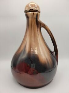 Brush McCoy Pottery Onyx Glaze Decanter Brown Jug Music Box Works
