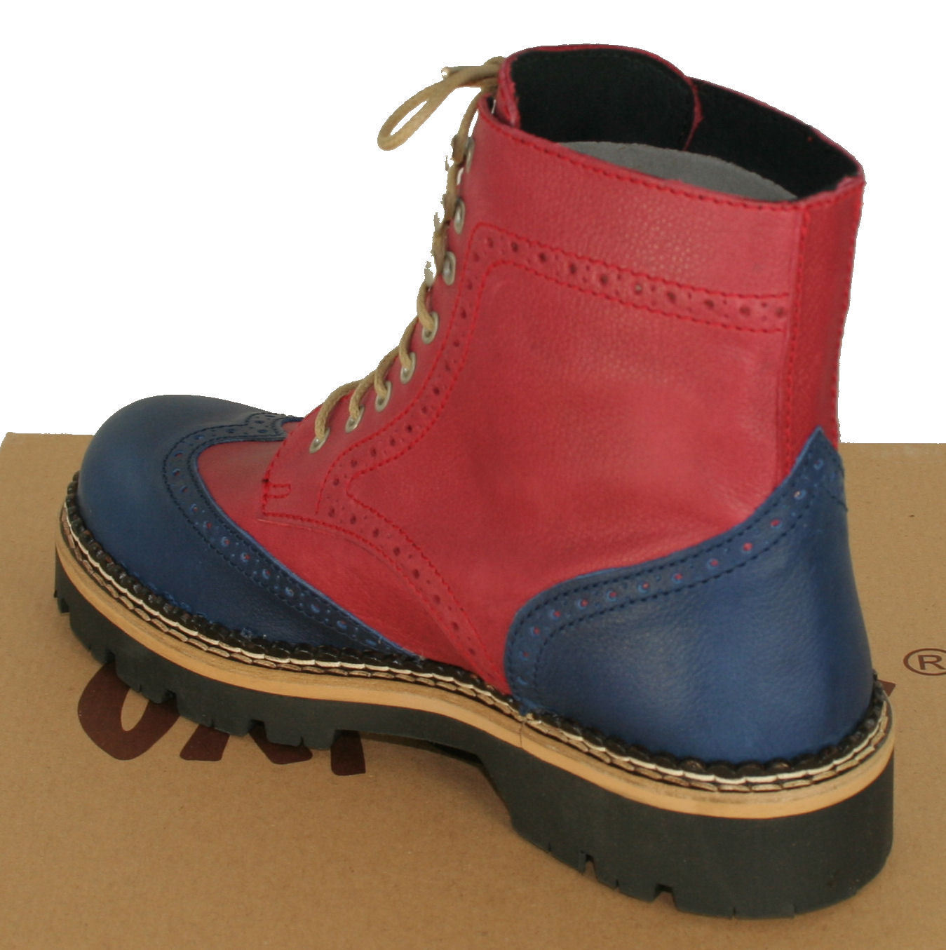 Oxygen Chunky Brogue Lace Up Berlin Boot Berlin Up ROT/Blau Größes 36 to 40 1af5e8