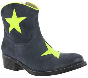 Details zu Boots Echtleder Cowboy Stiefelette Damen Stiefel Blau xyxyx Blockabsatz Stylish