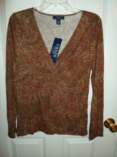 CHAPS RED GREEN SURPLICE FLORAL PAISLEY KNIT TOP BLOUSE SHIRT PM PL NEW