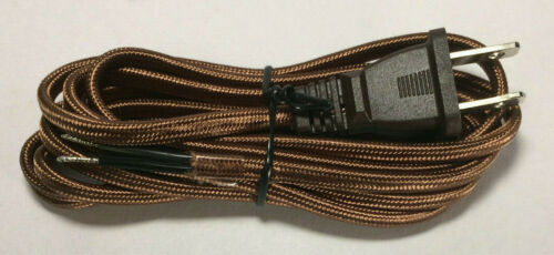 Brown Rayon Parallel Lamp Cord Set With Molded Plug New 8 ft 18//2 SPT-1 #CS870