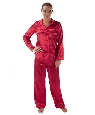 Ladies Satin Silk Pyjama Set Long Sleeve Sizes 10-22 Silky Pjs Nightwear Gift