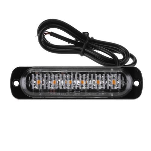 Amber//White 6LED Car Truck Emergency Beacon Warning Hazard Flash Strobe Light
