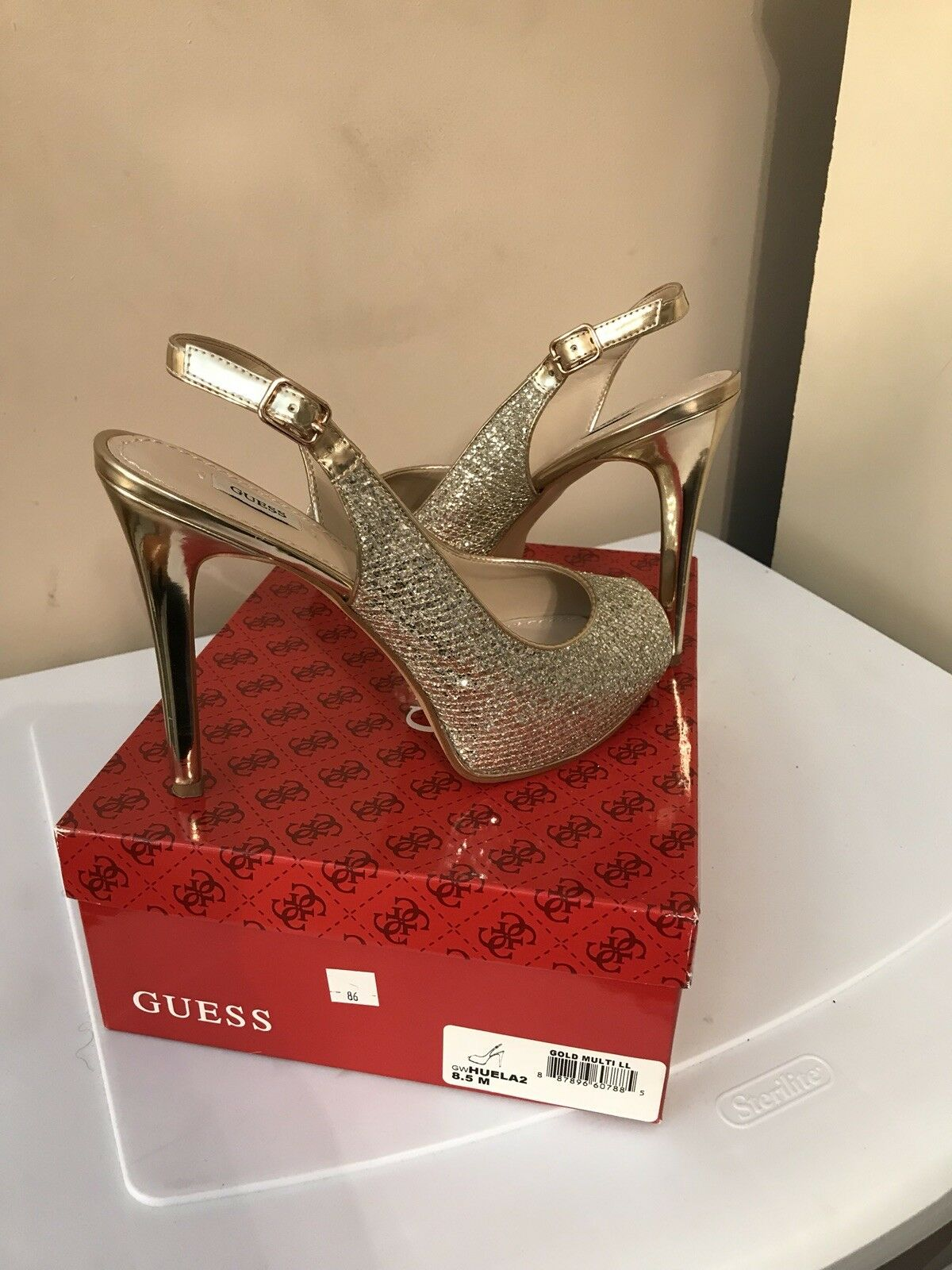 Guess Peep Toe Heels, Wmns Size 8.5 gold gold gold 35c407