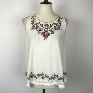 Max-Studio-Floral-Embroidered-Fringe-Trim-Shirt-Top-Blouse-Sz-S