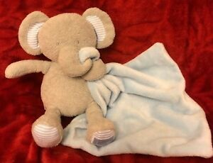 Marks And Spencer With Love Grey Elephant Baby Soft Toy Blue Comforter Teddy M/&S