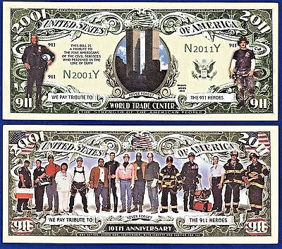 1-9//11 WTC Memorial Commemorative  Dollar Bill with clear protector sleeve U2