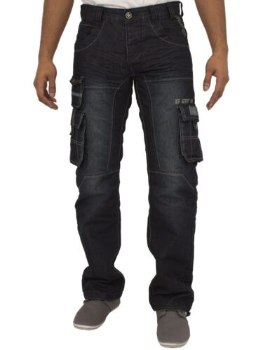 Enzo Mens Combat Trousers Loose Fit Cargo Jeans Denim Pants Big /& Tall King Size