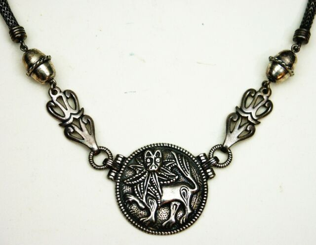 Kalevala Koru Collier Sonnen Löwe 925er Silber Finland Sun Lion Necklace (56)