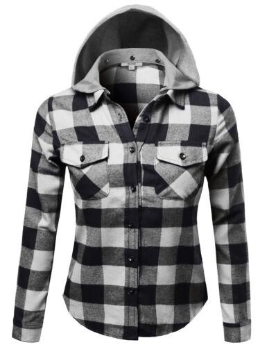 FashionOutfit Women Casual Soft Plaid Check Detachable Hood Flannel Plus Size