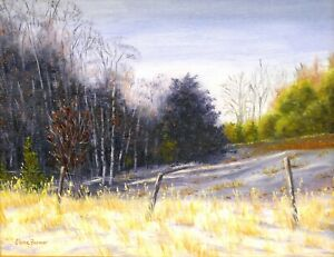 Winter Snow Field Fence Country original 8x10 oil rustic landscape art painting