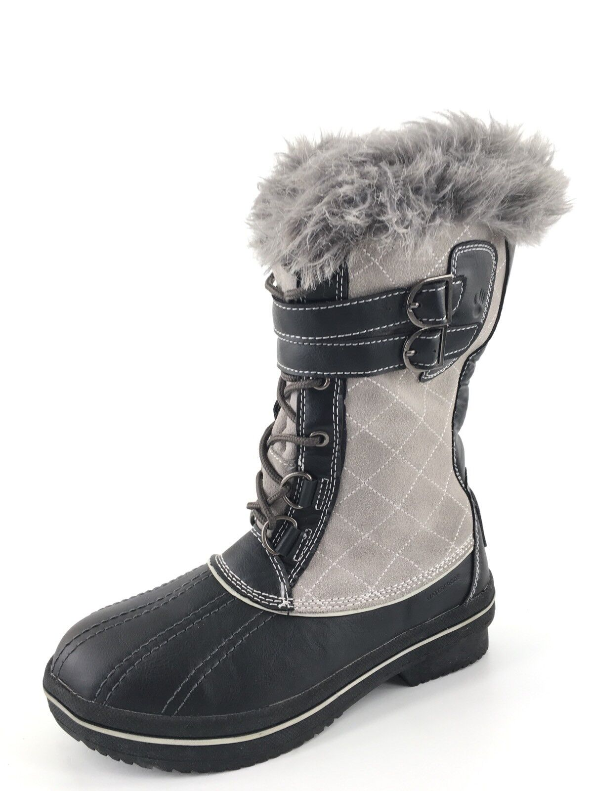 Bearpaw Rossland Charcoal Suede Leather Lace Up Winter Boots Women's Size 6 M