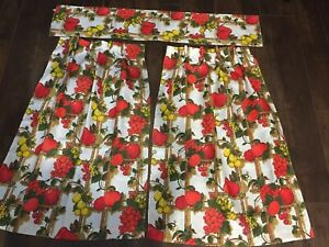 Vintage Red Fruit Kitchen Curtains 2 Panels And One Valance Set A Ebay