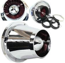 Cono de ABS Cromo forma Sports Car Kit De Inducción De Embudo Sistema de Filtro de aire + Adaptador