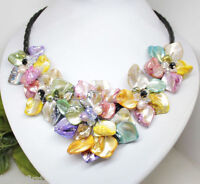 Natural Colorful Flower Mother Of Pearl Shell pendant Necklace Fashion Jewelry