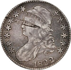 1822/1 O-102 R4+ Capped Bust Half Dollar NGC VF Details Very Fine Error Cleaned