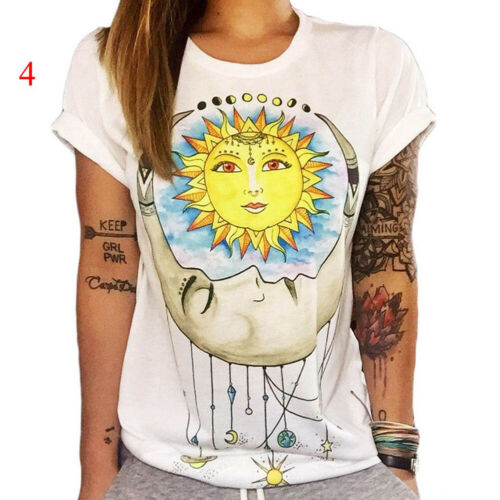 Women Boho Basic Casual Summer Short Sleeve Cartoon Cotton T-Shirt Blouse Top US