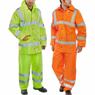 Hi Viz Waterproof Rainsuit Set High Vis Visibility Jacket /& Trouser S 4XL