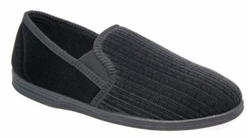 Mens Slip On Slippers Black Striped Comfortable Zedzzz 8 9 10 11 12 13 14