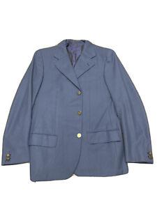 Mens-38-S-Brioni-Vintage-Blue-Wool-Blazer-Jacket-Metal-3-Button-Olympic-Torino