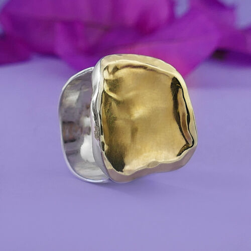 Statement Contemporary Two Tone Solid 9k Yellow Gold Sterling Silver Ring Size