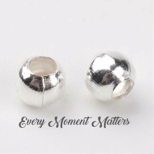 Tibetan Silver SMOOTH ROUND 3mm BRIGHT SILVER Iron Spacer Beads Choose Quantity