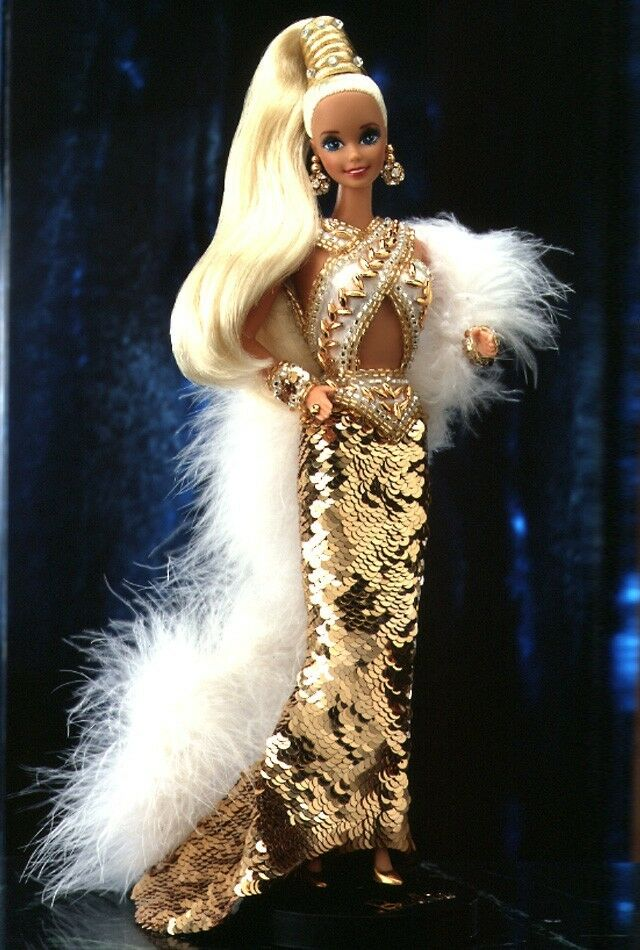 Bob Mackie oro 1990 Barbie 1º en una serie w shipper Firmado Funda