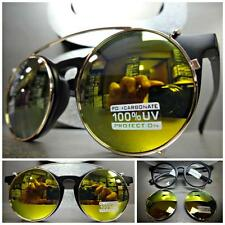 VINTAGE 60's Style Clear Lens CLIP ON SUN GLASSES Round Matte Black & Gold Frame