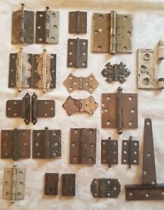 Antique-Mixed-Lot-Hinges-Metal-Cast-Iron-Brass-Lot-of-Eighteen-Pieces-Salvage
