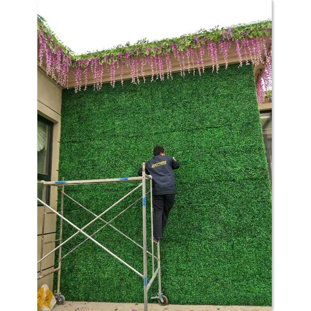 8PCS Grün Plastic Kunstrasen Rasen Gras Ornament Wand Teppich 40x60cm