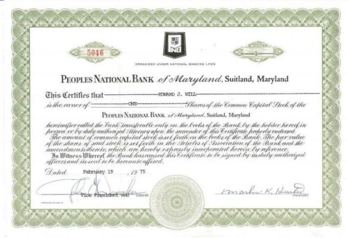 Maryland stock certificate Peoples National Bank of Maryland /> 1975 Suitland