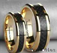 Boxed His And Hers Tungsten Carbide Gold Gp Wedding Engagement Ring Set