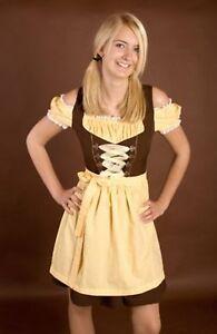 2tlg DIRNDL knielang braun gelb Damen Kleid Tracht ...