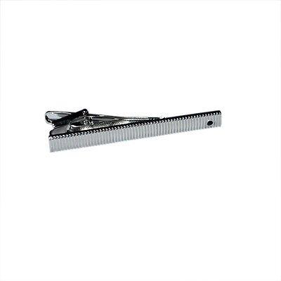 Plata clip de corbata con líneas verticales y Negro insertar xt154