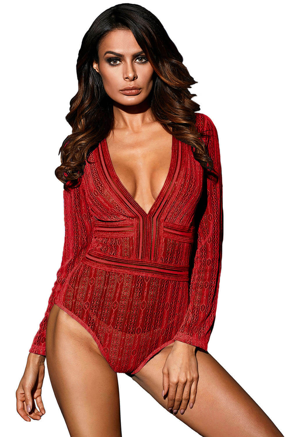 8b5bce4d57b Details about Brand New Red Sheer Sexy Mesh Long Sleeve Bodysuit One Piece  Teddy Size S M L