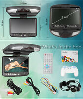 """NEW 9"""" CAR OVERHEAD FLIP DOWN MOUNT ROOF CD DVD PLAYER LCD MONITOR SD USB"""