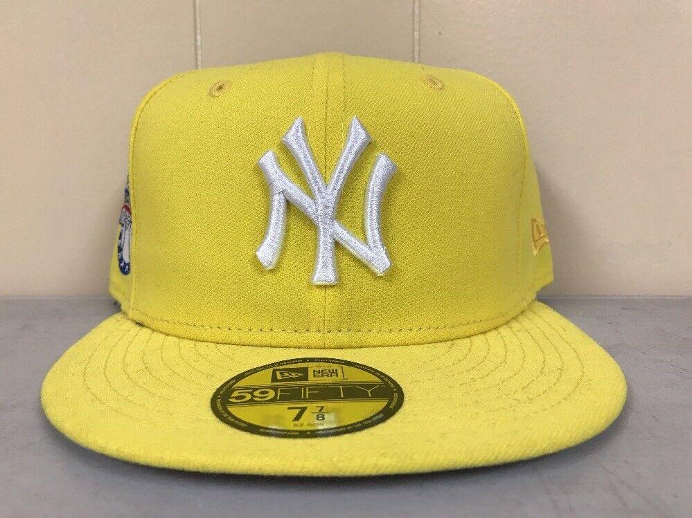 Brand New New Era Yankees 7 3/4 New York Yankees Era Fitted Hat Yellow White 300174