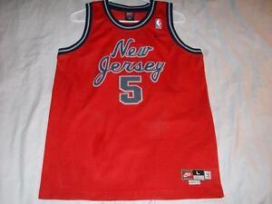 53a7281663cf Jason Kidd 5 New Jersey Nets NBA Nike Red Sewn Jersey Boys Large 14 ...
