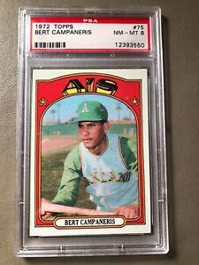 Bert-Campaneris-1972-Topps-Baseball-Card-75-PSA-Graded-NM-MT-8-Oakland-A-039-s