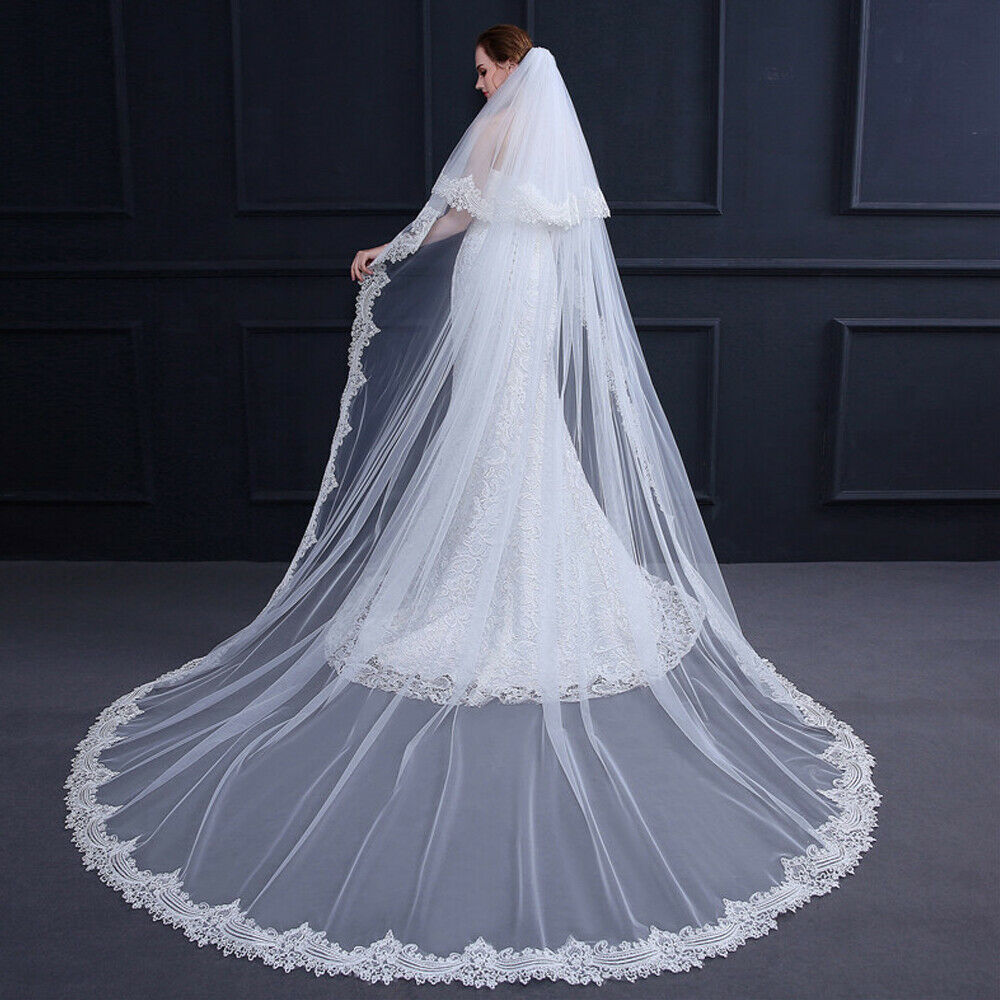 2 Tier Bridal Vintage Chapel Length Wedding Veil with Comb Cathedral Lace Edge