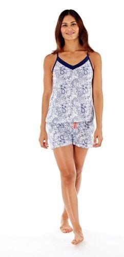 Donna Cami Top AOP Navy /& Bianco Paisley Cotone Shortie /'pigiama Set nelle taglie 8-18