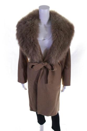 Kinross Womens Cashmere Fur Collar Belted Coat Cam