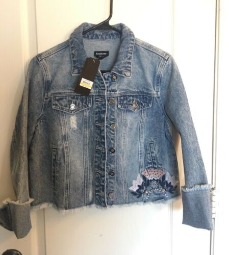 Rhinestones Distressed Jacket Broderet Nebt Bebe Medium Denim ATHnwqIwx