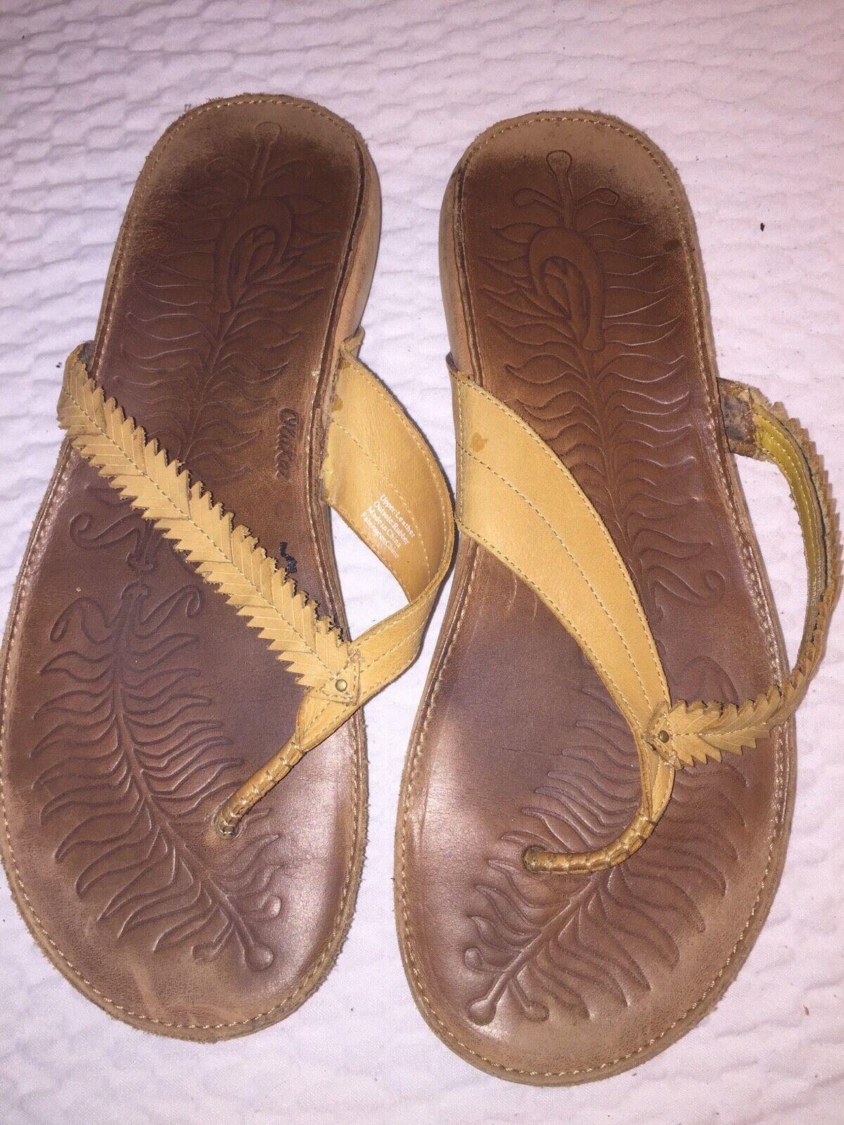 Olukai Para mujeres Cuero Flip Flop Sandal Kahili Tanga amarillo mostaza zapatos talla 11