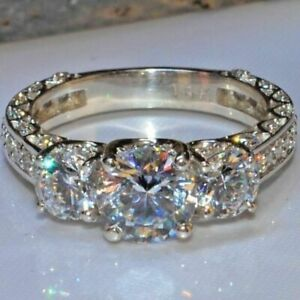 2-50Ct-Round-Near-White-Moissanite-3-Stone-Engagement-Ring-925-Sterling-Silver