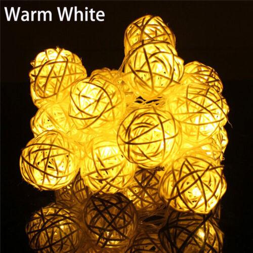 Hot 20 LED Rattan Ball Lichterkette Fee Lampe Hochzeit Weihnachtsdekor