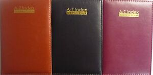 A5-Executive-Style-Padded-A-Z-A-to-Z-Address-Book-Brown-Black-or-Burgundy